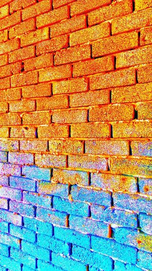 Colourful brick wall Full Frame Backgrounds Pattern No People Close-up Day Textured  Outdoors Multi Colored