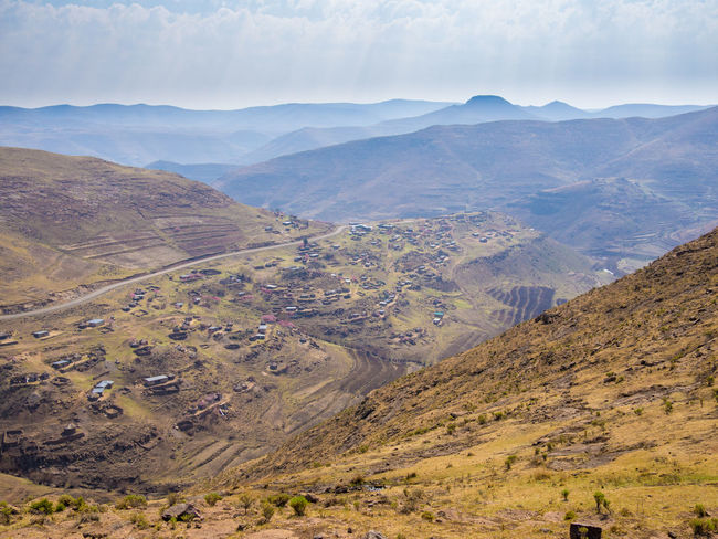 Arid Landscape Lesotho Mountain Range Africa Mountain Mountain Pass Road Curvy Offroad Pass