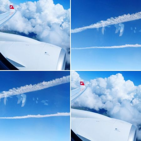 EyeEm Selects Cloud - Sky Blue Flying Airplane Transportation Day No People Nature Sky Outdoors Multiple Image Vapor Trail
