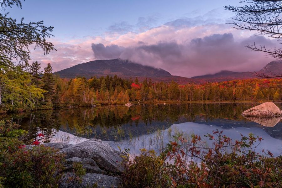 Fall morning light reflections Sandy Stream Pond Baxter State Park Autumn Fall Colors Mount Katahdin Beauty In Nature Plant Tree Scenics - Nature Sky Mountain Water Tranquility Tranquil Scene Nature Cloud - Sky No People Environment Non-urban Scene Landscape Idyllic Reflection Lake Mountain Range