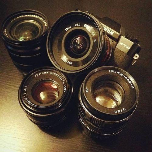 My gear <3 Fujifilmxt10 Fujifilm_xseries Cameraporn Fuji Fujifilm Xf1855 Xf35mm Samyang12mm Helios44m