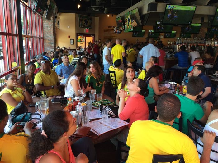 Soccer Fans during the World Cup Game Brazil X Chile in Astoria, New York Photo by Luiz Rampelotto/EuropaNewswire Hanging Out