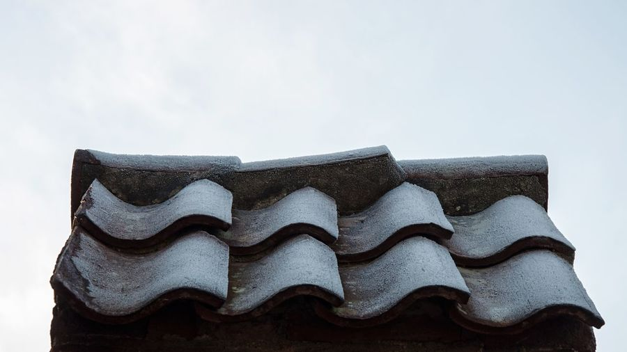 - Frosty roof tiles on a brick wall no3 - Close-up Close Up Close Roof Rooftop Roof Tile Brick Wall Brick Wall Low Angle View Built Structure Architecture Pattern Pattern Pieces Pattern, Texture, Shape And Form Nikon Nikonphotography EyeEm Best Shots Winter Netherlands
