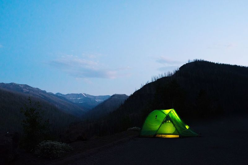 Mountain Sky Tranquility Beauty In Nature Nature Tent Tranquil Scene Landscape No People Day Mountain Range Adventure Outdoors Scenics Tree Done That.