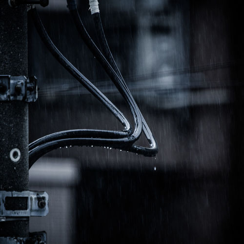 Close-up of raindrops falling from cable