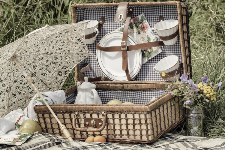Romantic picnic outdoors, in nature, vintage background. Concept of an ancient, rustic picnic, relaxation in summer Food Day Freshness Table Plant Container Basket Flower Flowering Plant Food And Drink Nature No People Wicker High Angle View Romantic Picnic Vintage Rustic Relaxing Relaxation Vacations Umbrella