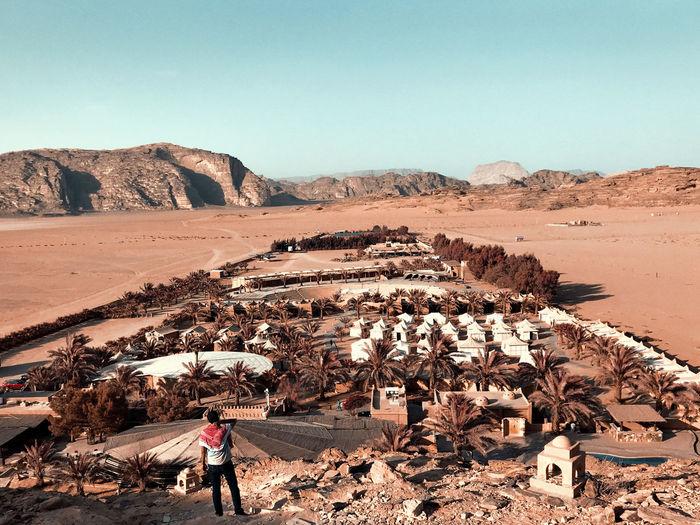 Hight view of beit ali lodge camp at wadi rum.