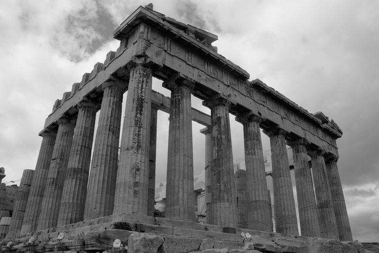 Acropolis Ancient Architectural Column Architectural Feature Architecture Athens Built Structure Capital Cities  Cloud Cloud - Sky Cloudy Column Day Famous Place Historic History Low Angle View No People Old Outdoors Overcast Sky The Past Tourism Travel Destinations