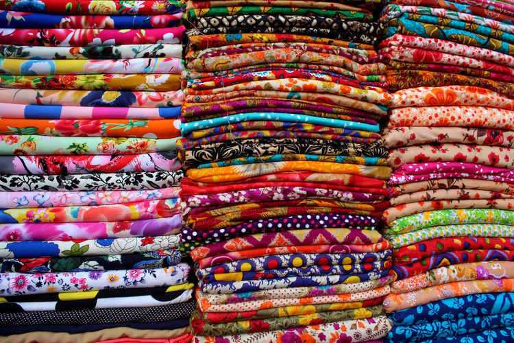 Full Frame Shot Of Multi Colored Fabric For Sale At Market Stall
