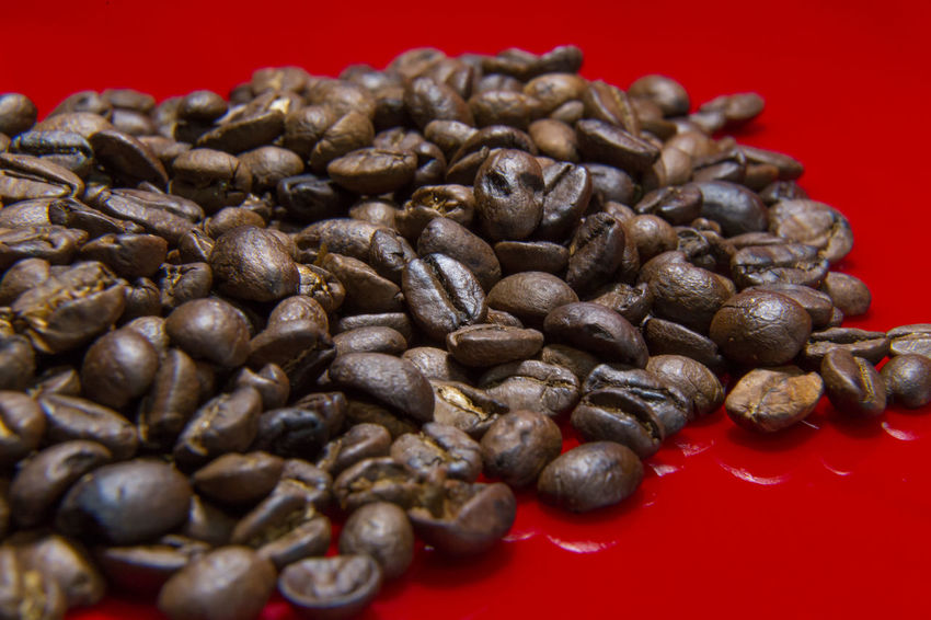 The Roasted Coffee Beans red background macro close up image for coffee background. Roasted Coffee Beans Coffee Beans Baker Coffee Beans Roasted Black Color Close-up Coffee Beans Coffee Beans For Sale Coffee Beans Roaster Food Food And Drink Freshness Healthy Eating Indoors  No People Red Roasted Roasted Coffee Roasted Coffee Bean