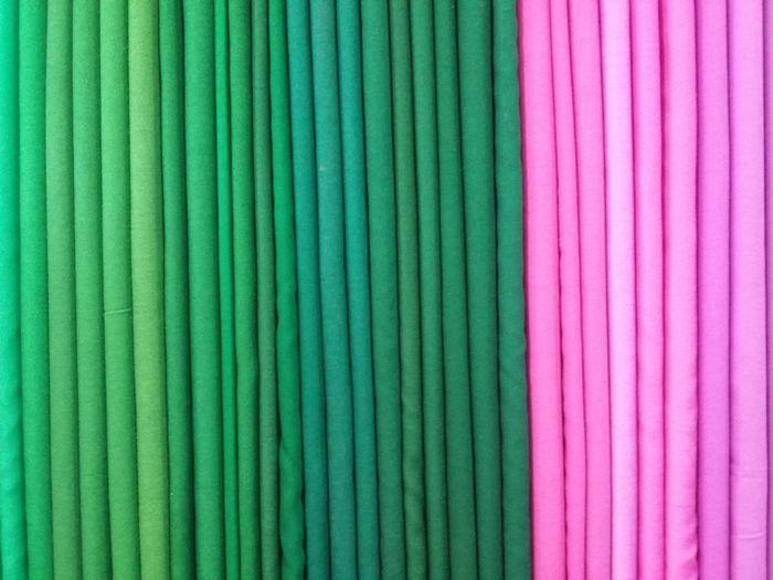 Close-up of pink and green fabrics