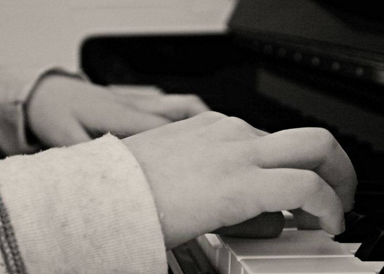 Close-up Day Holding Human Body Part Human Hand Indoors  Lifestyles Men Monochrome Photography One Person Piano Piano Playing Real People