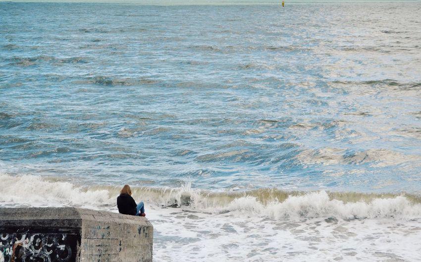Water Wave Sea Beach Sand Women Standing Summer Motion Horizon Over Water Seascape Ocean Coastline