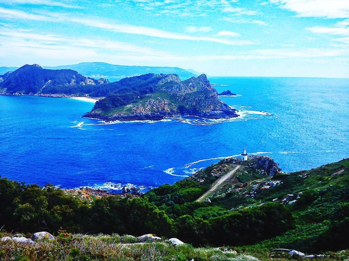 Islas Cies Sea Blue Horizon Over Water Scenics Sky Beauty In Nature Nature Travel Destinations No People Mountain Beach Day Clear Sky Water Vacations Landscape Travel Tranquility Tranquil Scene Beauty In Nature Cloud - Sky