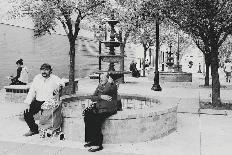 Urban Landscape Downtown Street Photography Waiting City Park Concrete And Trees Water Fountain Candid Shot Brownsville Texas Rio Grande Valley Elderly Urban By The Border This Is Latin America