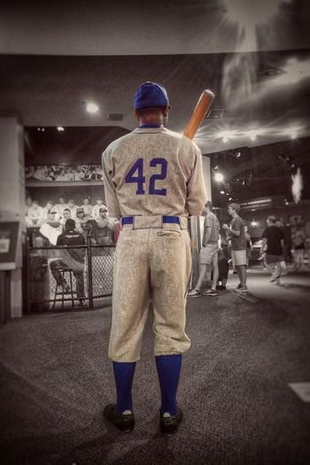 ✨⚾️42⚾️✨😌 Jackie Robinson was much more than the sum of his stats! Veteran, athlete, Civil Rights icon, business man...a true game changer ✨😌 IPhoneography Icon Blackhistorymonth Tadaa Community Baseball 42  Jackierobinson Rear View Night Standing Men Headwear Illuminated Helmet One Person Uniform Sport Full Length