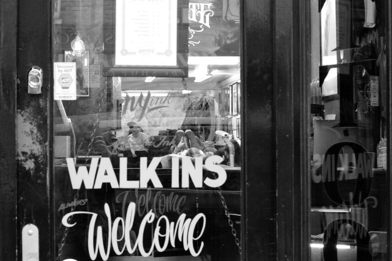 walk ins .. Black And White Monochrome Street Photography Walking In London Walking In The Street Reflection Ale, Beautiful Name For A Reflection. Glass - Material Text Open Sign Captured Moment London Streets Lifestyles Eye4photography  Western Script Store Store Window Communication Window Advertisement