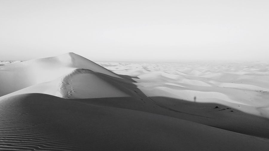 Shade in the dunes IPhone Photography Travel Destinations Adventure Black & White Blackandwhite IPhone X IPhoneography Land Sky Sand Nature Scenics - Nature Sand Dune Landscape Beauty In Nature Day Environment Tranquility Tranquil Scene Desert Non-urban Scene Copy Space Clear Sky
