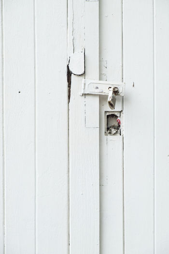 Architecture Building Exterior Built Structure Close-up Closed Day Door Entrance Full Frame Latch Lock Metal No People Outdoors Protection Safety Security Wall - Building Feature White Color Wood - Material