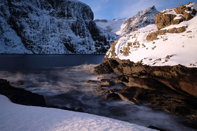 Winter in Lofoten Islands Beauty In Nature Betterlandscapes Cold Temperature Cold Winter ❄⛄ Fjord Landscape Landscape_Collection Lofoten Long Exposure Mountain Nature Norway Outdoors Rock Scandinavia Snow Snow ❄ Water Waves Winter The Great Outdoors - 2017 EyeEm Awards