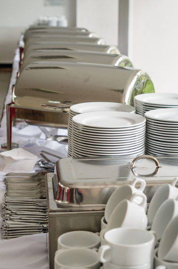 Close-up of arranged buffet table in restaurant
