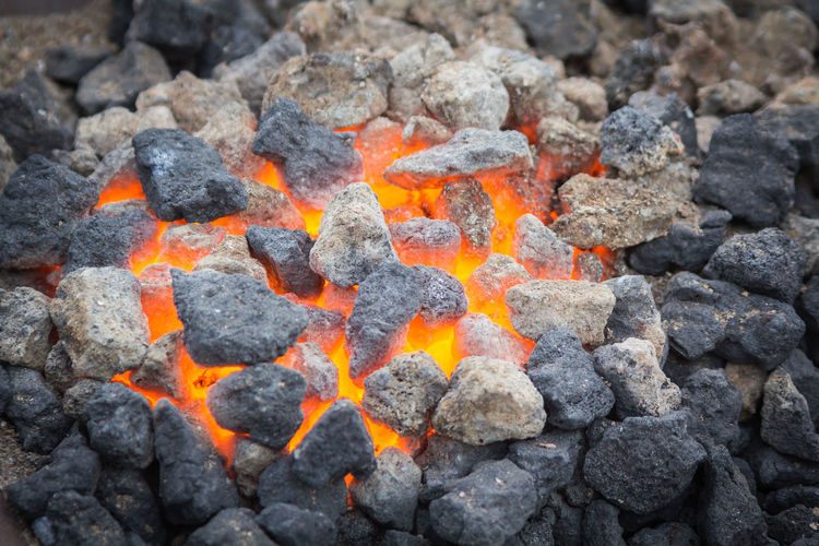 Burning Chark Close-up Coal Day Fire Heat - Temperature Orange Color Outdoors Solid