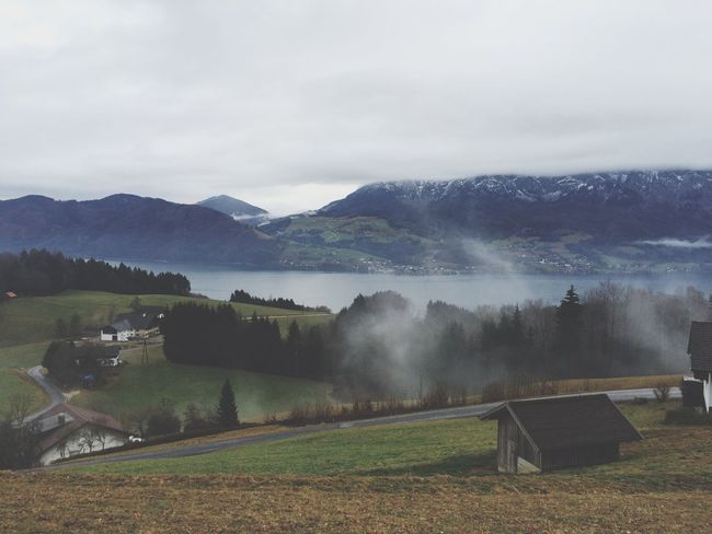 Attersee Lake Clouds Foggy Morning Green Blue Hiking