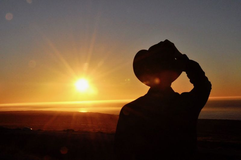 Man with cowboy hat at sunset in Australia Sunset Sky Silhouette Sun Orange Color One Person Real People Sunlight Nature Leisure Activity Lens Flare Lifestyles Sunbeam Beauty In Nature Scenics - Nature Men Tranquility Headshot Outdoors Bright Cowboy Cowboy Hats  Capture Tomorrow