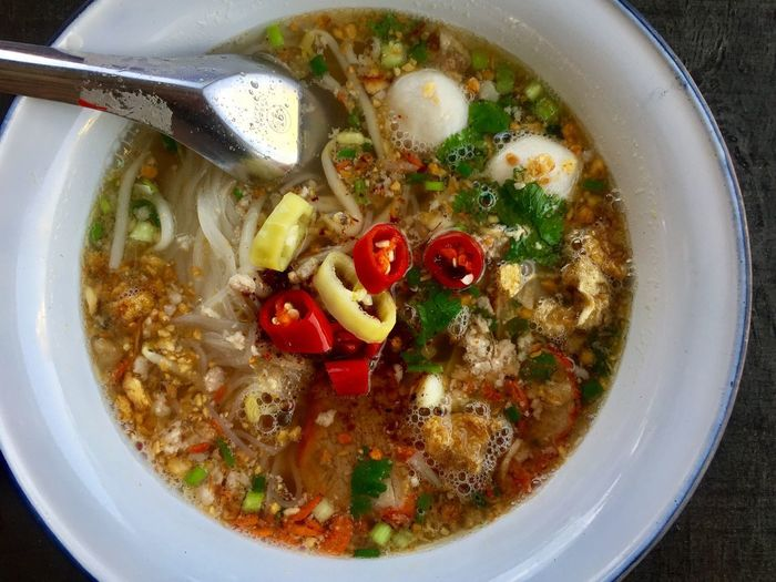 Close up Thai style noodle bowl Food Bowl Food And Drink Healthy Eating Still Life Soup Ready-to-eat Directly Above No People Indoors  Wellbeing High Angle View Freshness Serving Size Vegetable Close-up Soup Bowl Table Asian Food Indulgence