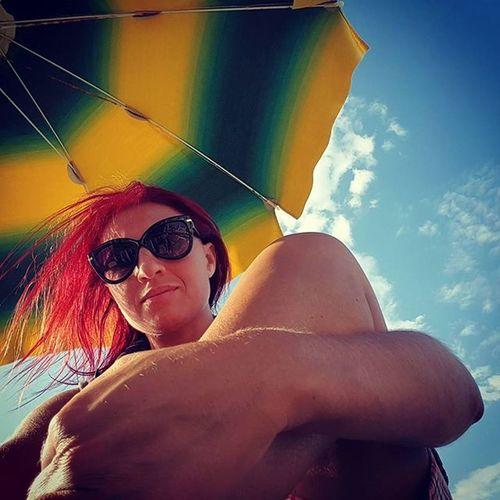 On the beach... Summertime Selfieonthebeach Seaside Beach Summer2015 Estate2015 Relaxing Seasideitaly Puglia Italy Haircolor Haircolour