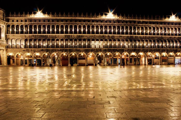 Illuminated san marco square at night