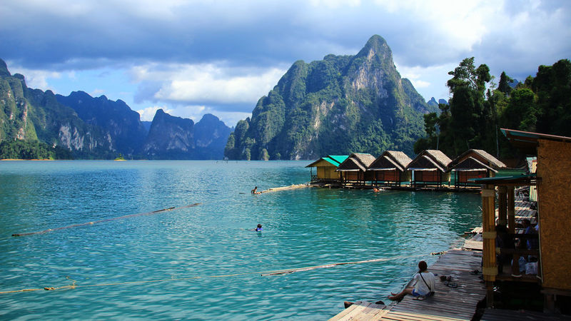 Beauty In Nature Bird Cloud - Sky Day Lake Men Mountain Mountain Range Nature Nautical Vessel One Person Outdoors People Ratchaprapadam Real People Scenics Sky Suratthani Swan Tranquil Scene Tranquility Tree Water