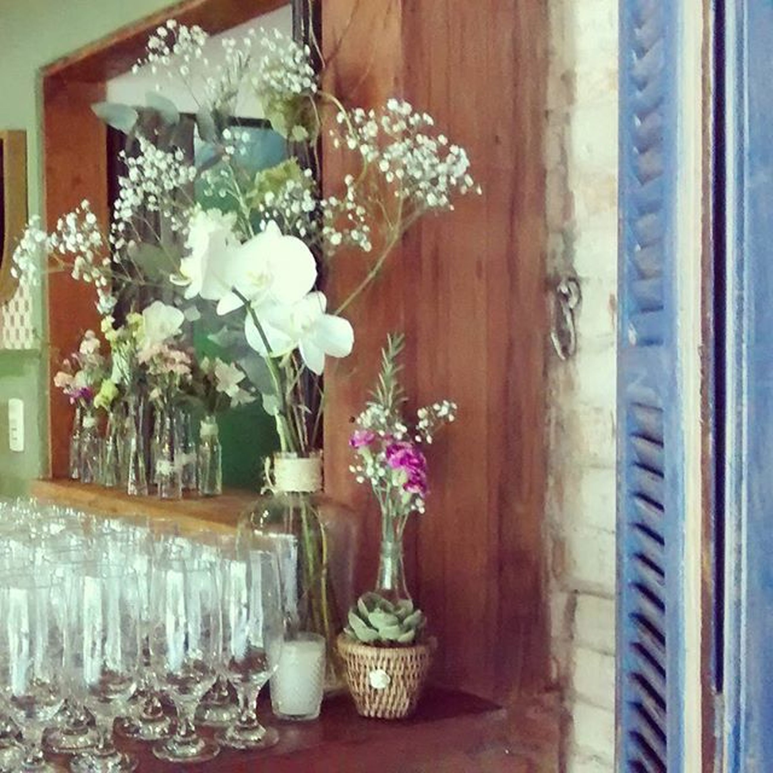 flower, indoors, vase, table, potted plant, freshness, fragility, flower pot, home interior, flower arrangement, decoration, plant, bouquet, window, glass - material, wood - material, petal, house, growth, bunch of flowers