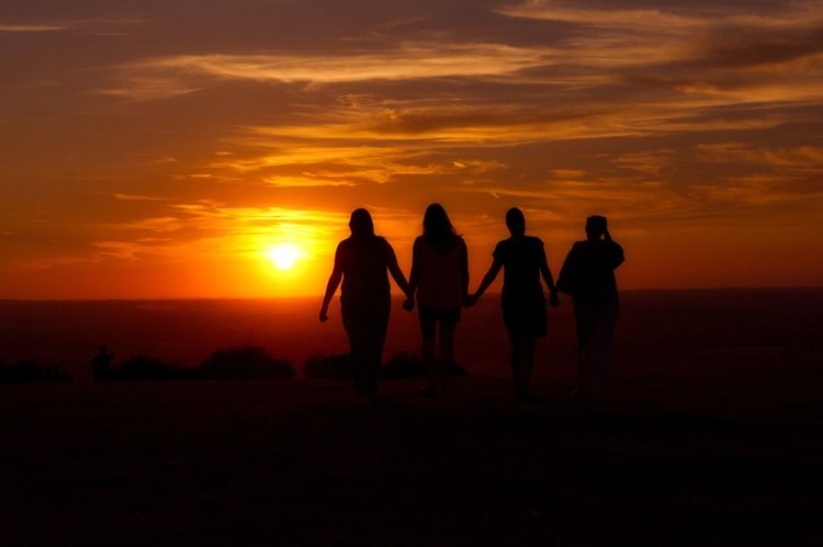 Adult Beauty In Nature Friendship Full Length Landscape Lifestyles Men Nature Outdoors People Real People Scenics Silhouette Sky Sun Sunset Togetherness