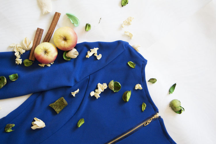 Apples Blue Dress Cinnamon Decoration Decoration Of Dres Style Styling White Background