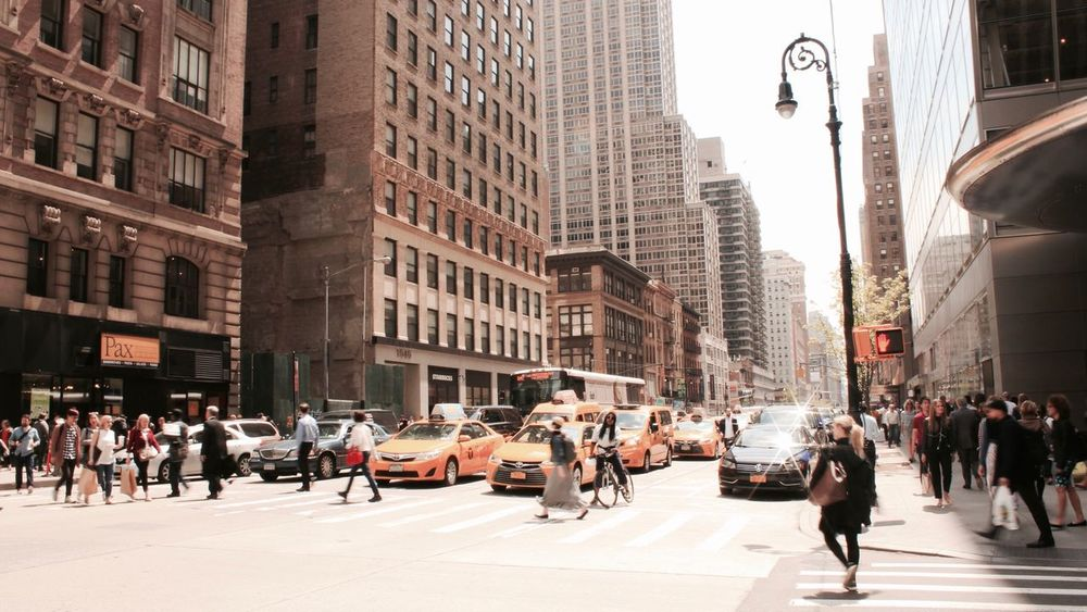 City Building Exterior Built Structure Large Group Of People Architecture City Life Day Outdoors People Street Urban City Life City Men Women Transportation Road Car Cars Taxi Yellow Taxi Streetshot Street Photography NYC New York City