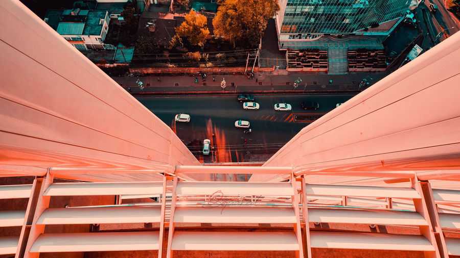 Architecture Bridge Bridge - Man Made Structure Building Building Exterior Built Structure City Connection Day Digital Composite Glass - Material Low Angle View Metal Miniature Mode Of Transportation Modern No People Orange Color Outdoors Railing Red Transportation
