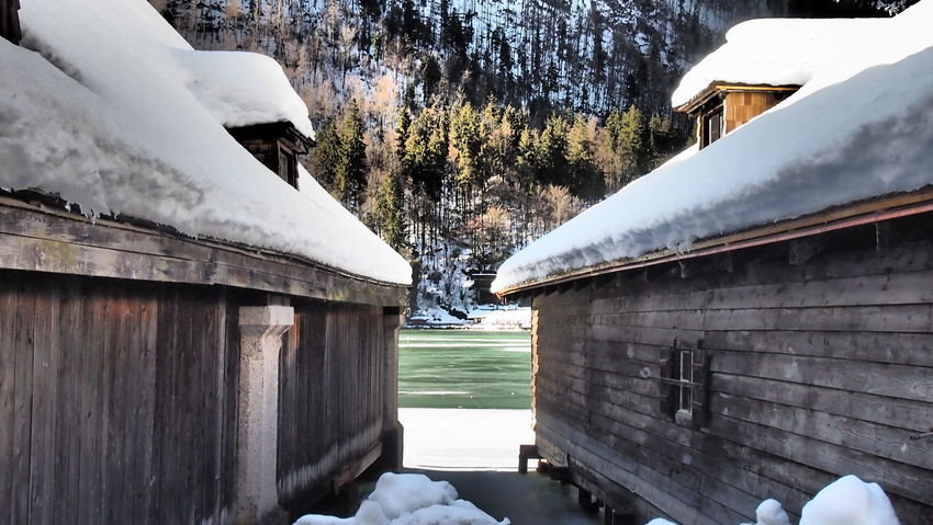 Architecture Bavaria Bay Beauty In Nature Berchtesgadener Land  Building Exterior Built Structure Cold Temperature Day Frozen Ice Lake Mountain Nature No People Outdoors Scenics Schönau Schönau Am Königsee Sky Snow Tree Water Weather Winter
