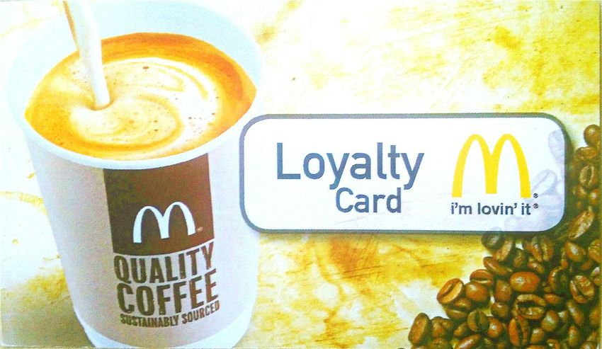 Mc Donald's I'm Lovin' It Coffee Macca's Caffeine Loyalty Card Loyalty Cards The Golden Arches Mc Donalds Cappucino Golden Arches Maccas Mcdonalds Loyalty McDonald's LoyaltyCards Loyaltycard Plastic Advertising