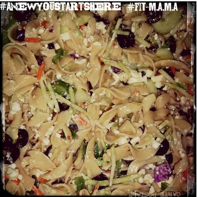 Whole wheat pasta, olives, green peppers, shredded carrots, cabbage and celery. Feta cheese and cucumbers all mixed with zesty italian dressing. When serving, top with fresh tomatoes and broccoli..... www.facebook.com/anewyoustartshere