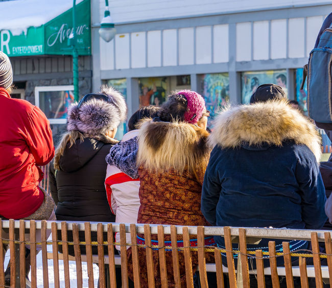 Three Grandmothers Celebrate the End of Winter Anchorage Fur Rondy Northern Traditions Sled Dog Races, Alaska Dog Mushing Fur Grandmother Mushing People Real People Togetherness Warm Clothing Winter Carnival Women