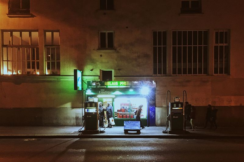 Gas Station Night Paris