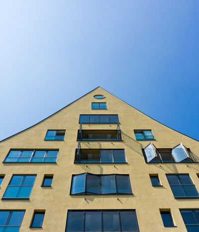 Close-up of a House in front of a clear sky Architectural Detail Architecture Blue Blue Sky Buildings Clear Clear Sky Clear Water Colorful Colors Colour Colourful Enjoying The View EyeEm Best Shots EyeEmBestPics Glass House Open Window Perspectives Skies Sky Windows