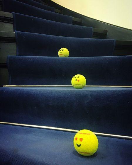 Emojis Yellow Indoors  Tennis Ball Stairs Fun At Work Break From Work Blue