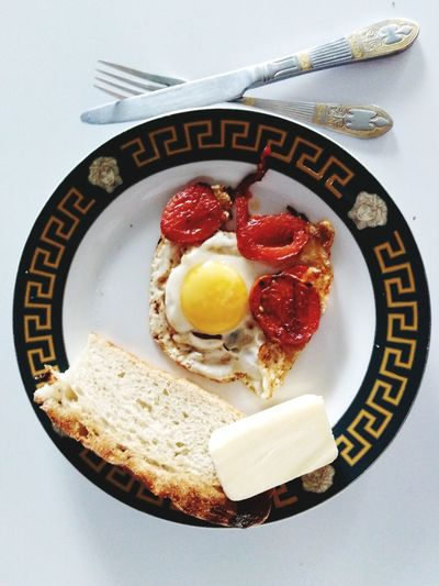 Directly above shot of breakfast served in plate