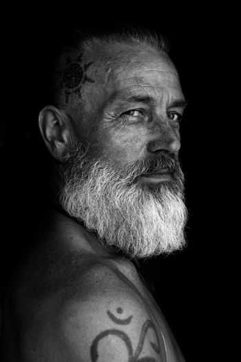 father 01 | mio schweiger photography One Man Only Looking At Camera Adult Black Background People Close-up Real People Headshot Human Skin Men Blackandwhite Photography PersonMonochrome Photography Portrait Human Face Tattoos White Beard Beard Bearded The Portraitist - 2017 EyeEm Awards