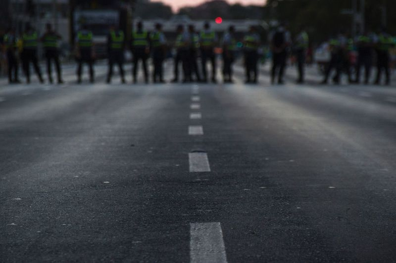 Policia Policia Militar Esplanada Esplanada Dos Ministérios Barreira Policial Impeachment Brasil Brasília
