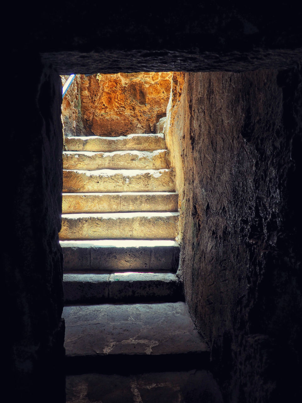 staircase, architecture, steps and staircases, no people, indoors, built structure, history, the past, old, wood - material, the way forward, direction, day, weathered, nature, ancient, building, solid, sunlight, ruined
