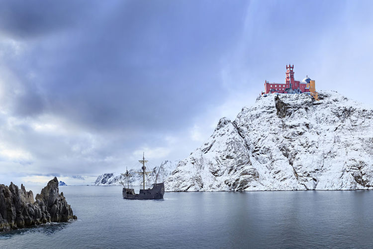 A fantasy landscape of a northern Land with a castle and sailing ship Barents Sea, Castle, Game, Lofoten Islands, Northern, Thron, Town, Adventure, Arctic, Atlantic, Coast, Cold, Europe, Fantasy, Fjord, Harbor, Ice, Landscape, Mountains, Mystic, Nature, Nordic, Nordland, North, North Sea, Norway, Norwegian, Ocean, Of, Outdo Game Of Thrones Sailing Ship Fantasy Northsea Sailing Away Ship Winterfell