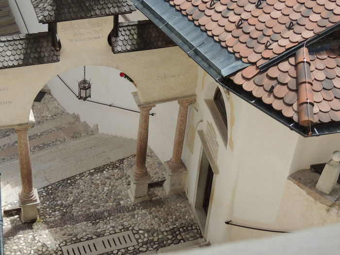 Architecture Building Exterior Built Structure Day Eremo Di San Romedio High Angle View No People Outdoors Roof Tiled Roof